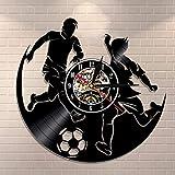 Football Sport Jeu Garçon Chambre Horloge Murale Football Disque Vinyle Horloge Murale Joueur De Football Décoration de La Maison Disque Vinyle Mur Art