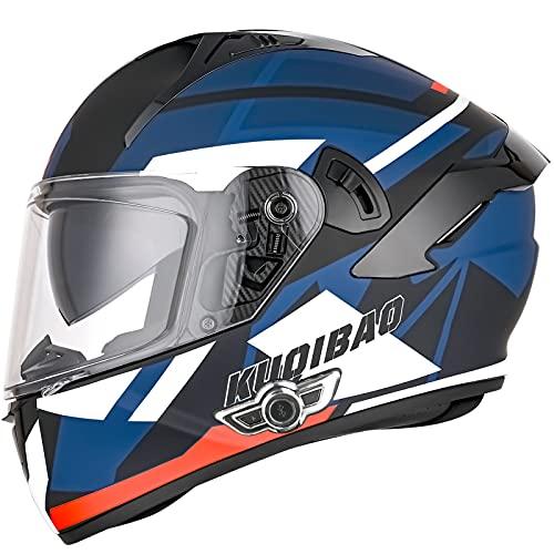 ZHANGYUEFEIFZ Bluetooth Casco Moto Integral, Casco de Moto Scooter para Mujer Hombre Adultos con Anti Niebla Doble Visera, Casco Integrado ECE Homologado con 3000mA Auriculares Bluetooth