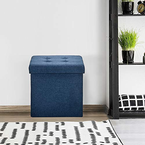 Seville Classics Foldable Storage Ottoman Footrest Toy Box Coffee Table Chest Trunk Seat Stool, 1-Pack, Midnight Blue