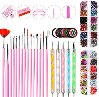 Nail Art Kits, 37 Pcs Nail Decoration Tools With Nail Art Brushes 2 Nail Art Decoration Box Color Rhinestones Dotting Pen Set Nail Foils, Full Nail Art Set Supplies For Nail Art Work