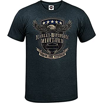 Harley-Davidson Military Men s Graphic T-Shirt - Overseas Tour   Veterans Support Large Charcoal