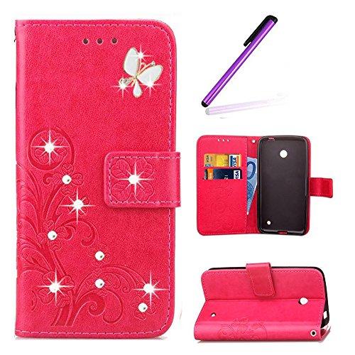 EMAXELERS Nokia Lumia 630 Hülle PU Lederhülle Bookstyle Handyhülle Flip Glitzer Asche Brieftasche Bumper mit Kartenfächer Wallet Tasche Etui für Nokia Lumia 630/635,Diamond Rose Clover with Diamond