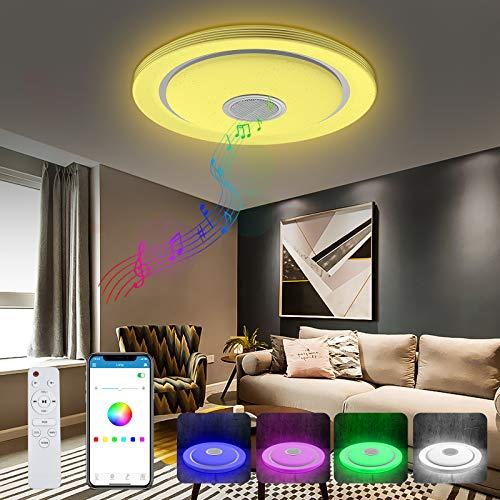 Luz de techo LED T-SUN con altavoz Bluetooth, luz de techo LED regulable de 32 W con control remoto y de aplicación, lámpara de música con cambio de color RGB para sala de estar, habitación de niños