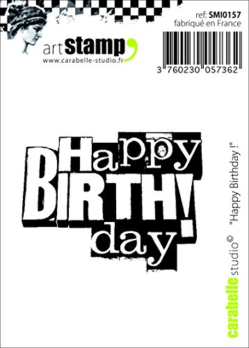 Carabelle Studio Cling Stempel Mini-Happy Birthday, Rubber, White transparent, 5 x 6 x 0.5 cm