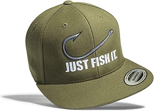 Baddery Angler Hut: Fish It - Geschenk für Angler - Angelbekleidung - Cap für Angler - Anglermütze - Angler Kappe - Angler Mütze - Classic Snapback von Flexfit (One Size)