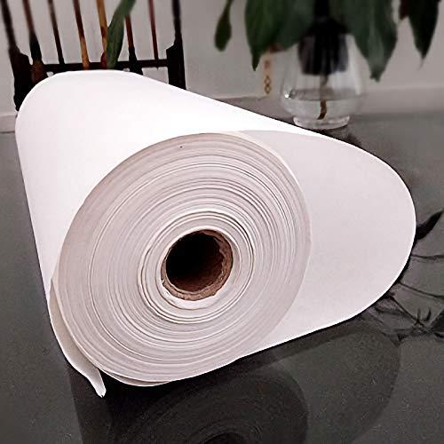 MEGREZ Rollo de Escritura Xuan Paper Espesamiento Arroz Sumi Paper para Practicar la Caligrafía China Japonesa sin Cuadrículas - 35 cm x 100 m, Medio Sheng Shu (Medio Crudo...
