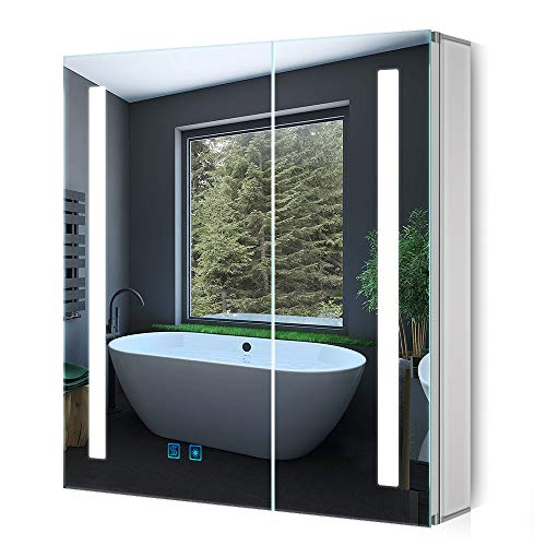 Quavikey LED Spiegelschrank 63x65cm(B*H) Badezimmer Spiegelschrank mit Beleuchtung Aluminium Lichtspiegelschrank Antibeschlag Touchschalter Helligkeit Dimmbar Soft-Close-Funktion Doppeltürig