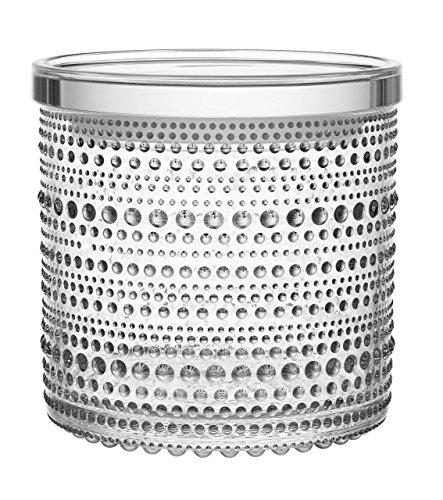 """Iittala Kastehelmi Jar by Oiva Toikka (4.5"""" x 4.5"""", Clear)"""