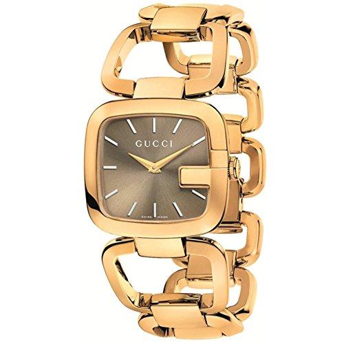 Mujer Gucci YA125408 Tono oro Acero inoxidable Dial marrón G-Gucci