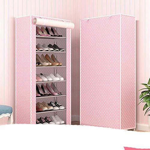 Nuevo a prueba de polvo hogar zapatero organizador múltiples capas zapatos estante titular puerta zapatero S espacio hogar almacenamiento punto rosa 7L