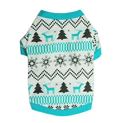 Price comparison product image NEARTIME Puppy Clothes,  Doggy Outfit Printed Snow Fawn Interlock Christmas Pet Shirt (S)