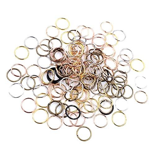 JIACHEN Lote de 200 anillos de metal para joyería abiertos, anillos de salto para hacer joyas (color: colores mezclados, tamaño: 4 mm)