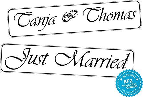 liebesmasche Original KFZ-Kennzeichen Hochzeit Autoschilder Hochzeitsschilder Namensschilder Just Married, Namen und Ringe 0189-0003