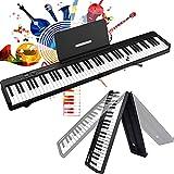 MaSYZBF Piano con Teclado Plegable de 88 Teclas, Piano electrónico portátil, Piano Digital de 128 ritmos, Teclado Midi para niños, batería Recargable, Piano Digital Plegable para Principiantes,Black