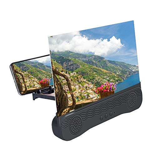 Bluetooth Audio 6D HD Phone Screen Amplifier,12 inch Mobile Phone Screen Amplifier, Phone Screen HD Stand Movie Amplifying Projector, for Movies,Videos, Gaming, Compatible with Most Phones (A)