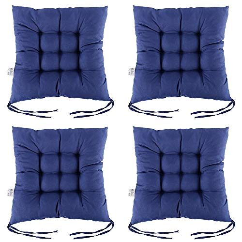 4Pack Dining Chair Seat Pads, Square Seat Cushion with Straps Comfortable Seat Pad Cushion Indoor Outdoor for Living Room Patio Garden Office Shop (Navy Blue)