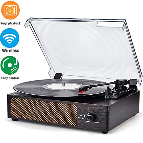 Best Deals! Record Player Turntable Wireless Portable LP Phonograph with Built in Stereo Speakers 3-...