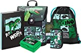 Schulranzen Jungen Set 5 Teilig - Schultasche ab 1. Klasse - Grundschule Ranzen mit Brustgurt - Ergonomischer Schulrucksack (Dino)