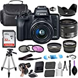 Canon EOS M50 Mirrorless Digital Camera (Black) w/EF-M 15-45mm f/3.5-6.3 is STM + Wide-Angle and Telephoto Lenses + Portable Tripod + Memory Card + Commander Optics Deluxe Accessory Bundle
