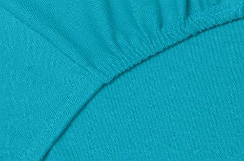 Double Jersey – Spannbettlaken 100% Baumwolle Jersey-Stretch bettlaken, Ultra Weich und Bügelfrei mit bis zu 30cm Stehghöhe, 160x200x30 Türkis - 5