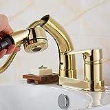 ZKAIAI asidero Limpia Oro All-cobre extraible de la cuenca de agua caliente y fría del grifo de dos agujeros de tres orificios lavabo del fregadero de elevación telescópica cabezal de ducha Rociador d