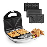 Klarstein Trilit 3-in-1 Sandwich Maker Panini Maker Contact Grill Waffle Iron - Power: 750 Watts, 3 Replaceable Aluminium Grill Plates, Anti-Stick Coating, Non-Slip, Plastic Casing, Colour: Silver