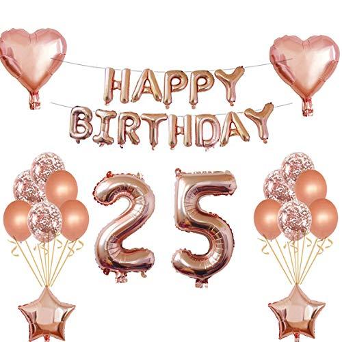 Oumezon 25 Geburtstag Mädchen Dekoration Rose Gold, 25. Geburtstag deko für Mädchen Jungen Happy Birthday Girlande Banner Folienballon Konfetti Luftballons Deko Geburtstag Party Anzahl Ballons