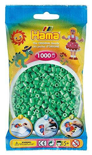 Hama Perlen 207-11 Bügelperlen Beutel mit ca. 1.000 Midi Bastelperlen mit Durchmesser 5 mm in hellgrün, kreativer Bastelspaß für Groß und Klein