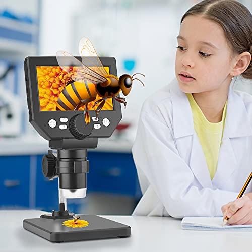 Kacsoo Microscopio Digital de LCD 4.3 Pulgadas Microscopio Estéreo USB Zoom de 1080P 1000x Lupa Digital con Soporte,para Placa de Circuito de Reparación de Herramienta de Soldadura