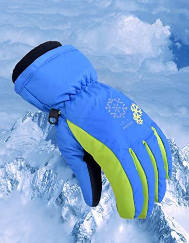 Xiaoai Winter-Handschuhe für Kinder, wasserdicht, warm, bunt, Snowboard-Handschuhe für Jungen und Mädchen, blau, XS