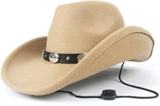2019 Womens Hats Caps Womens Unisex Wool Western Cowboy Hat for Women with Punk Belt Fedora for Gentleman Party Hat for Elegant Lady Adjustable Fashion Foldable (Color : Khaki, Size : 56-58)