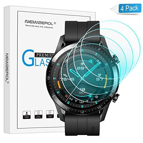 NEWZEROL Panzerglas kompatible für Huawei Watch GT 2 46mm Schutzfolie, (Nicht für Huawei gt/Huawei gt 2e) 4 stück 2.5D Arc Edges 9H Glas Displayschutz Anti-Kratzer blasenfrei Schutzfolie mit CLAR
