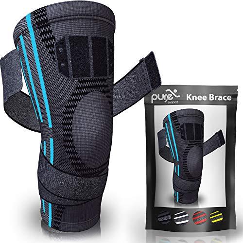 PURE SUPPORT Kniestütze Sport Kniebandage, mit Bänder-Kompression Patella-Stabilisator für Meniskusriss, Arthritis-Schmerzen, Laufen, Basketball, Crossfit, Sport, Fitnessstudio, Frauen, Männer