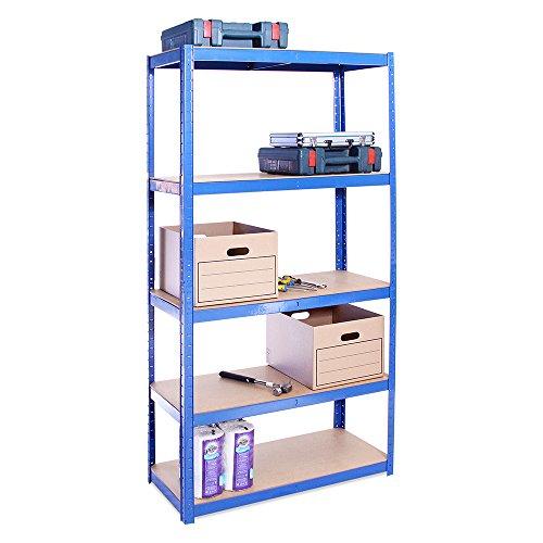G-Rack 0022 Estantería de Almacenamiento para Garaje, Acero Inoxidable con Recubrimiento de Polvo Azul, 180cm x 90cm x 40cm