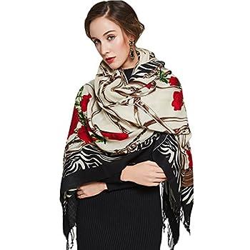DANA XU 100% Pure Wool Women s Large Traditional Cultural Wear Pashmina Scarf  Black   White15