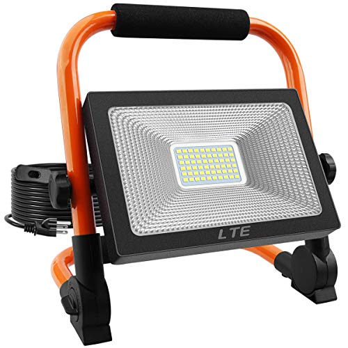 LED Work Light 50W 5500LM Portable Outdoor Flood Light 6000K IP66 Waterproof Camping Security Lights for Outdoor Lighting/Hunting/Camping/Hiking/Car Repairing (Orange)