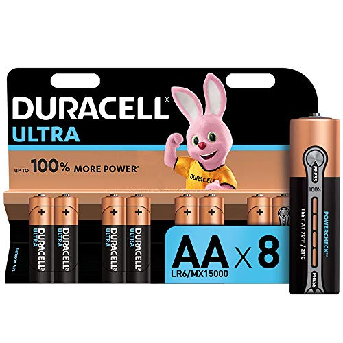 Oferta de Duracell Ultra AA con Powerchek, Pilas Alcalinas, Paquete de 8, 1.5 Voltios LR06 MX1500