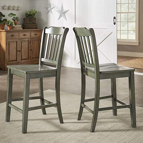 Union 5 Home Slat Back Wood 24 in. Counter Chair (Set of 2)