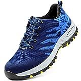 Zapatos de seguridad, ligeros, Kevlar, para hombres y mujeres, zapatos de trabajo, puntera de acero, transpirables, zapatillas de protección, color Azul, talla 43 EU