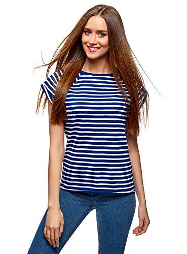 oodji Ultra Mujer Camiseta Básica de Algodón, Azul, ES 36 / XS