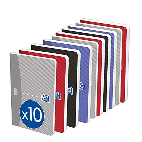 OXFORD Lot de 10 Carnets Essentials 9x14cm Petits Carreaux 96 Pages Agrafées Couverture Carte Coloris Assortis