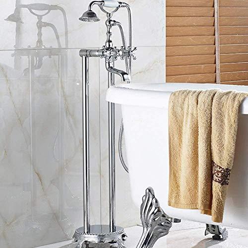 Grifo de suelo cromado para baño y ducha, tipo de teléfono, grifo de tres manijas con mezclador de llenado de bañera, grifo de estilo de teléfono frío y caliente