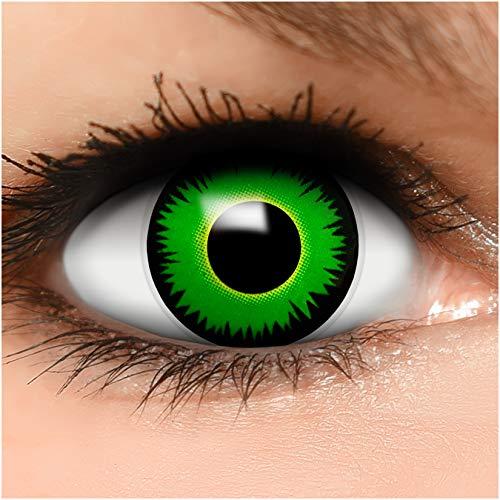 Farbige Kontaktlinsen Reptil in grün + Behälter - Top Linsenfinder Markenqualität, 1Paar (2 Stück)