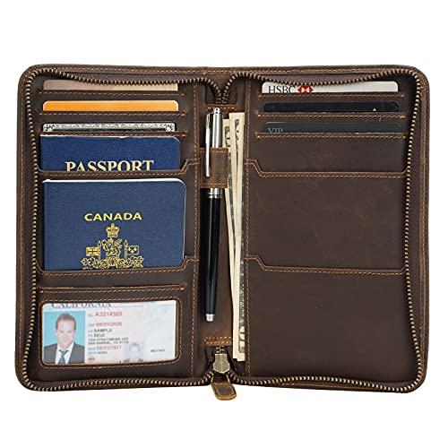 Polare Full Grain Leather Passport Holder Cover Case for Men RFID Blocking Travel Wallet Holds 4 Passports