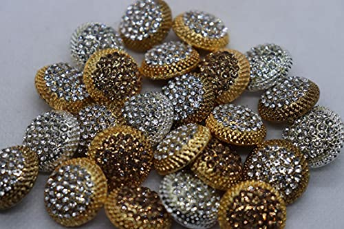 The Design Cart Assorted Pack of Silver Stone Studded Fancy Metal Button for Garment, Kurta & Sherwani, Jodhpuri Coat, Bandhgala Suits and Nehru Jacket. Pack of 12 Pieces , Size 30Lmm