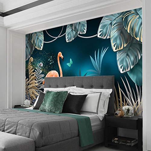 Msrahves Fotomurales decorativos Dibujado a mano tropical plantas flamenco. Pared Mural Foto Papel Pintado Pared Mural Vivero Sofá Tv Pared De Fondo Decoración de Pared decorativos hotel fondo de TV