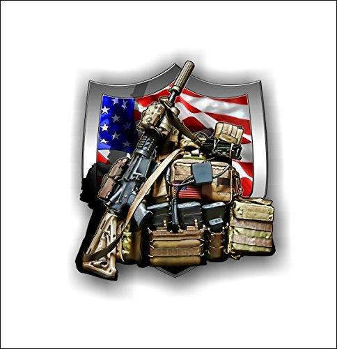 American Flag Crest Military Gear Sticker Vinyl Bumper Car Truck Decal