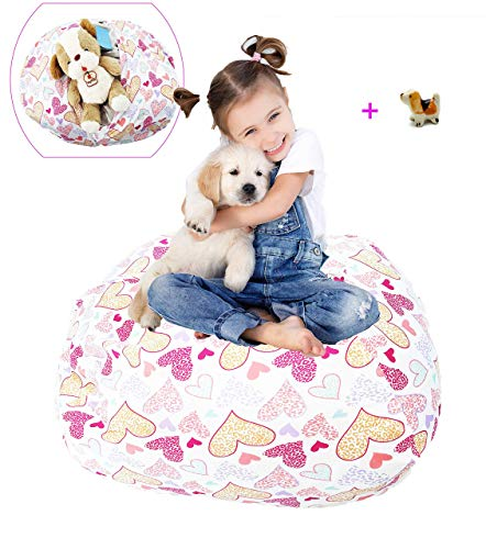 Stuffed Animal Storage Bean Bag Chair Hammock Large 38' Toy Organizer Pink