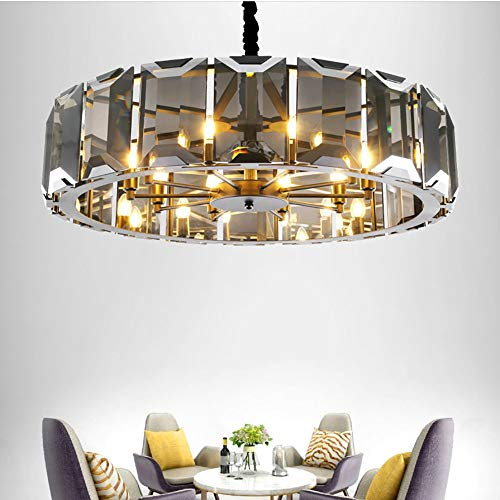 LCSD Lámpara de techo LED de color negro humo gris cristal araña E14 * 8 hoteles de lujo europeo moderno sala de estar Den 65 * 65 * 22 cm luz cálida