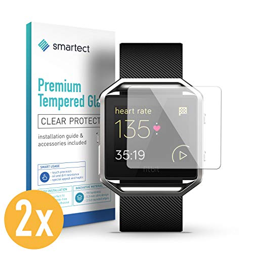 smartect Panzerglas kompatibel mit Fitbit Blaze [2 Stück] - Bildschirmschutz mit 9H Festigkeit - Blasenfreie Schutzfolie - Anti Fingerprint Panzerglasfolie